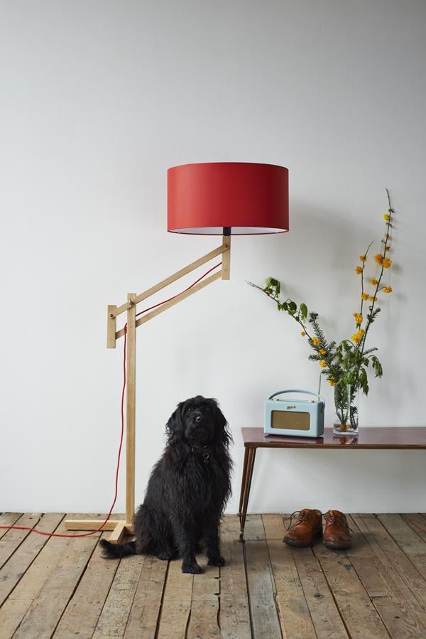 Adjustable Standard Lamp and Mabel the Labradoodle
