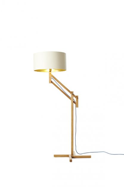 Mark Lowe Adjustable Standard Lamp Cream/White Shade with Light On