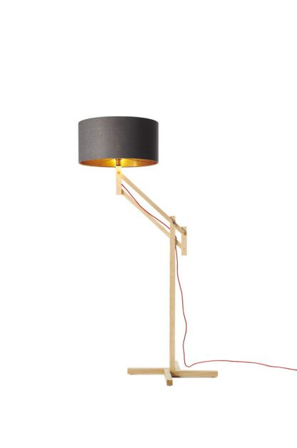 Mark Lowe Adjustable Standard Lamp Grey Linen Shade with Copper Lining