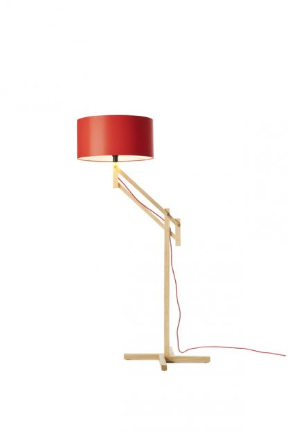 Mark Lowe Adjustable Standard Lamp Red Shade with White Lining