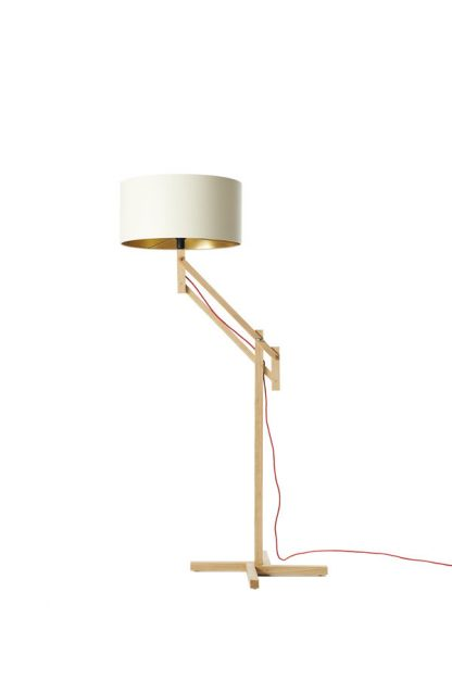 Mark Lowe Adjustable Standard Lamp White Shade Gold Lining