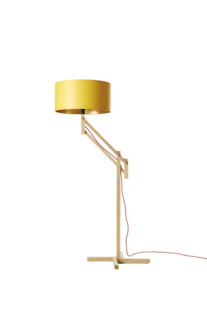 Mark Lowe Adjustable Standard Lamp Yellow Shade with Gold Lining