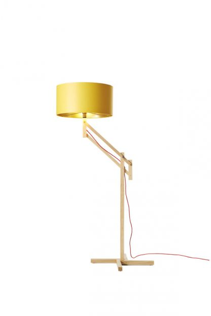 Mark Lowe Adjustable Standard Lamp Yellow Shade with Light On