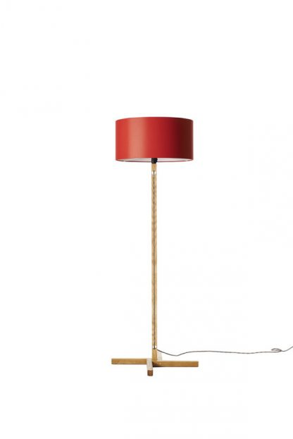 MLSL01 Ash Standard Lamp Red Shade with White Lining