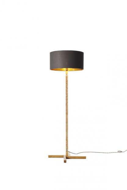 MLSL01 Standard Lamp Grey Linen Shade with Copper Lining