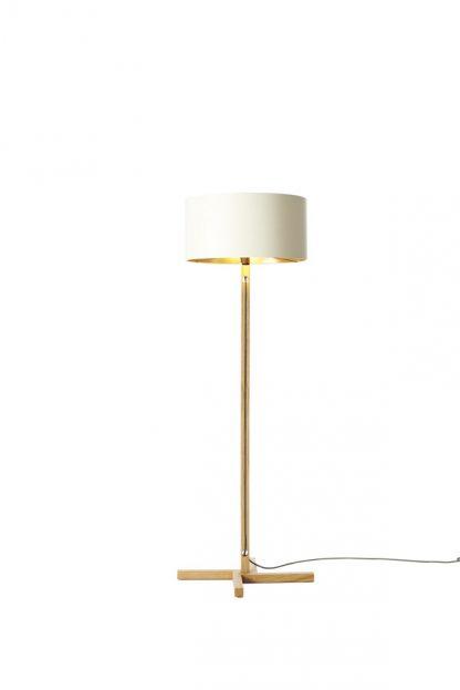 MLSL01 Standard Lamp White Shade with Gold Lining