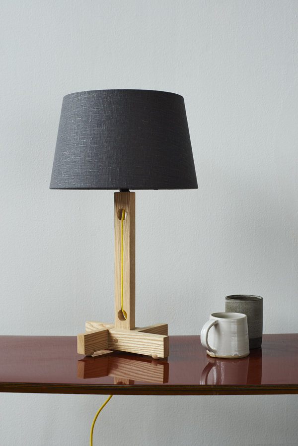 MLTL02 Table Lamp in Ash with Yellow Cord and Shade in Grey Linen Copper Lining