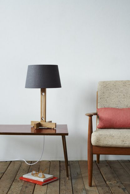 MLTL02 Table Lamp in Oak with White Cord and Grey Linen Shade and Copper Lining