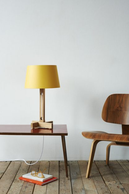 MLTL02 Table Lamp in Oak with White Cord and Yellow Shade Gold Lining