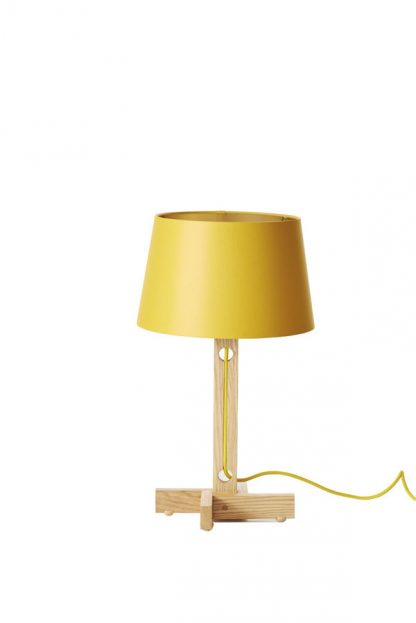 MLTL02 Table Lamp Yellow Shade Gold Lining