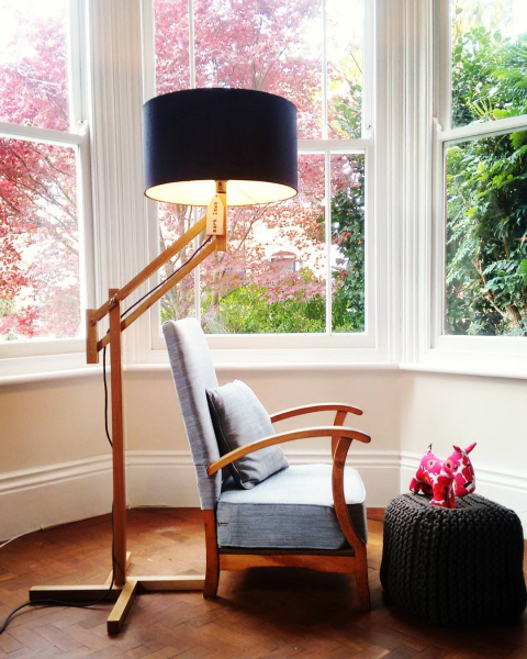 Mark Lowe Adjustable Oak Lamp Black Shade